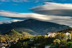 View To Old Medieval Castle And Beautiful Autumnal Valley, Sunset, Foix Stock Photo