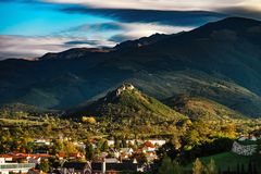 View To Old Medieval Castle And Beautiful Autumnal Valley, Sunset, Foix Royalty Free Stock Image
