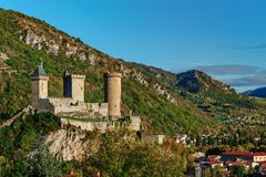 View to old medieval castle and beautiful autumnal valley, sunse Royalty Free Stock Images