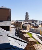 View to old part of Ponferrada from castle Stock Photos