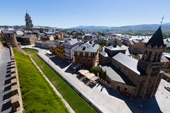 View to old part of Ponferrada from castle Royalty Free Stock Photography