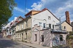 View to the old residential buildings in Vilnius, Lithuania. Royalty Free Stock Photo