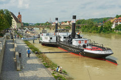 View to  the old steam boat at Danube river in Regensburg, Germany. Royalty Free Stock Photography