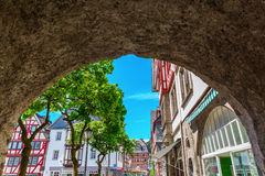 View to the old town of Herborn, Germany. View through a historical city gate to the old town of Herborn, Germany Royalty Free Stock Images
