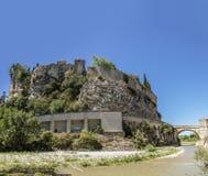 Old town and historic roman bridge in vaison la romaine stock photography