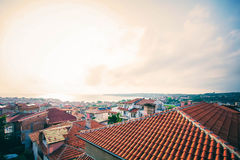 View to the old town of Sozopol on the Black sea coast, one of the major seaside resorts in Bulgaria. Medieval city in Bulgaria Stock Photo