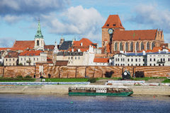View to the old town of Torun from across the Vistula river in Torun, Poland. Stock Photography