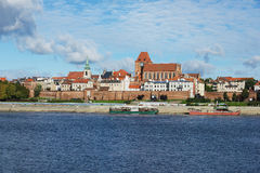 View to the old town of Torun from across the Vistula river in Torun, Poland. Stock Image