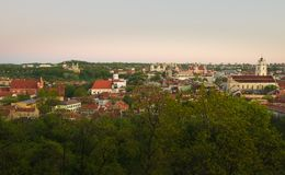 View to old Vilnius from Gediminas castle Royalty Free Stock Photos