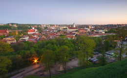 View to old Vilnius from Gediminas castle. Tower stock photos