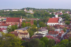 View to old Vilnius from Gediminas castle Stock Image