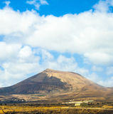 View to old volcano near arrecife Stock Photo