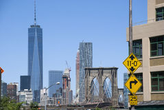 View to One World Trade Center Tower and Brooklyn Bridge. New York City Royalty Free Stock Images