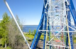 View to Onego lake from Ferris Wheel in Petrozavodsk, Russia. View to Onego lake from Ferris Wheel in Petrozavodsk, Russia Stock Photo