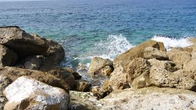 View to the open sea and sheer island coastline. Mediterranean island of Cyprus. Concept travel. stock video footage