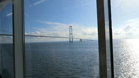 View to Oresund Bridge from a window of ferry. between demark and Sweden stock video footage