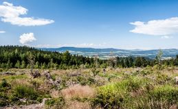 View to Orlicke hory mountain range from hiking trail bellow Klepy hill in Kralicky Sneznik mountains in Czech republic Stock Photography