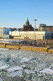 View to Orthodox Assumption Cathedral and the port in Helsinki Royalty Free Stock Image