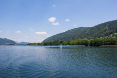 View To Ossiach From Ship At Lake Ossiach Royalty Free Stock Image