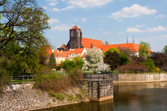 View to Ostrow Tumski, Wroclaw. Royalty Free Stock Image