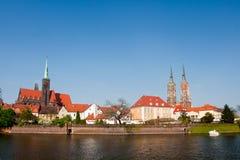 View to Ostrow Tumski, Wroclaw. Royalty Free Stock Photo