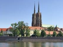 View to Ostrow Tumski, Wroclaw, Poland. Stock Photos