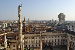 View to Palazzo Reale museum from Duomo panoramic viewpoint. Royalty Free Stock Photo