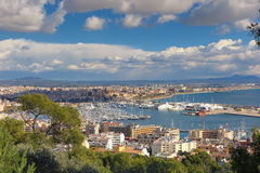 View to Palma de Mallorca. View to the harbor and beaches area of Palma de Mallorca, great spring sky Royalty Free Stock Images