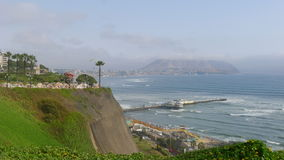 View to a park and the coastline of Miraflores Stock Photography