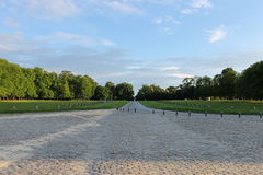 View to park of famous Chateau de Chantilly (Chantilly Castle). Stock Images