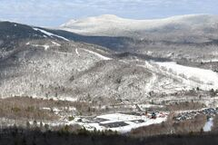 View to parking lot and Spruce peak at Stowe Ski Resort in Vermont