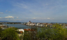 View to Parliament over river Danube. View to Parliament over the river Danube in Budapest, Hungary royalty free stock image