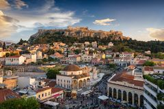 View to the Parthenon Temple of the Acropolis and the old town, Plaka of Athens, Greece stock photography