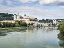 View to Passau. In Germany with river Inn and cathedral in Summer royalty free stock images