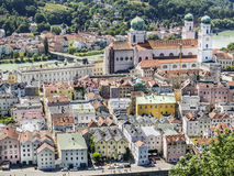 View to Passau. In Germany with river Inn in Summer stock image