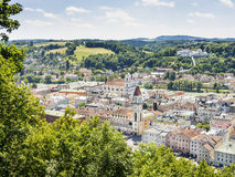 View to Passau. In Germany with river Inn in Summer royalty free stock image