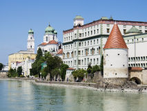 View to Passau. In Germany with river Inn in Summer stock images