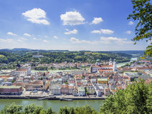 View to Passau. In Germany with rivers Danube and Inn in Summer royalty free stock images