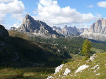 View to Passo Giau from Forcella Giau. View to Pass Giau in Dolomites Stock Photography