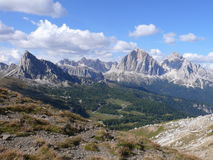 View to Passo Giau from Forcella Giau. View to Pass Giau in Dolomites Royalty Free Stock Images