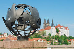 View to the peace sculpture with Albrechtsburg castle and Meissen cathedral at the background in Meissen, Germany. Stock Image