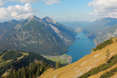 View to pertisau village and lake achensee Stock Photos