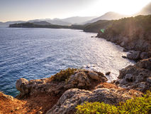View to Phaselis bay - Çamyuva, Kemer, coast and beaches of Turkey Royalty Free Stock Photos