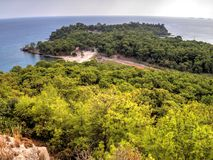 View to Phaselis bay - Çamyuva, Kemer, coast and beaches of Turkey Stock Image