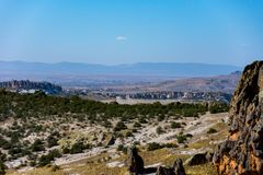 View to the Phrygian valley from the top of the water well. In Afyon Royalty Free Stock Images