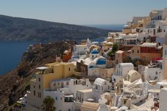 A view to the picturesque Oia village Royalty Free Stock Photo