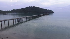 View to pier on the sea at loneliness beach. stock footage