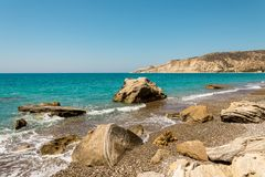 A view to Pissouri Bay from the end of the beach, Cyprus Stock Image