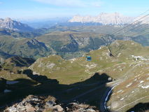 View to Piz Boè valley. Sunny day in Dolomites mountains Italy Royalty Free Stock Image