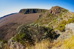 View to the Plaine des Sables at 2260 m above sea level near Piton de la Fournaise volcano at La Reunion island. royalty free stock photos